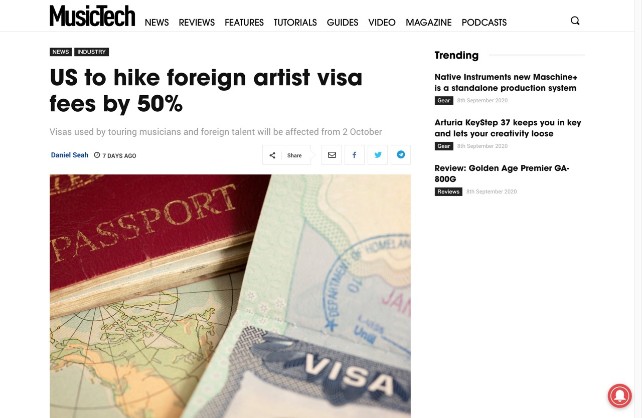 US to hike foreign artist visa fees by 50%   MusicTech