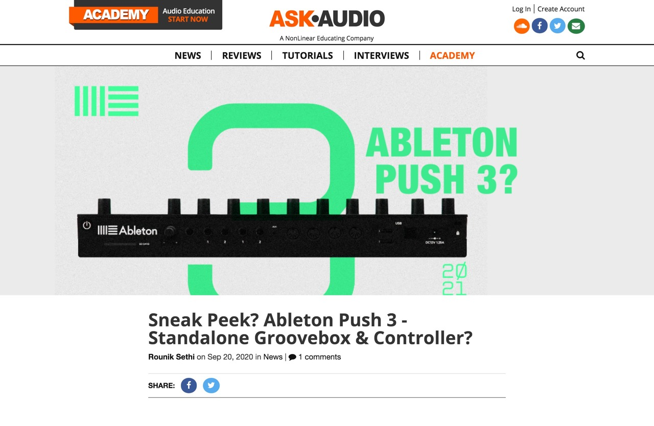 Sneak Peek? Ableton Push 3 - Standalone? : Ask.Audio