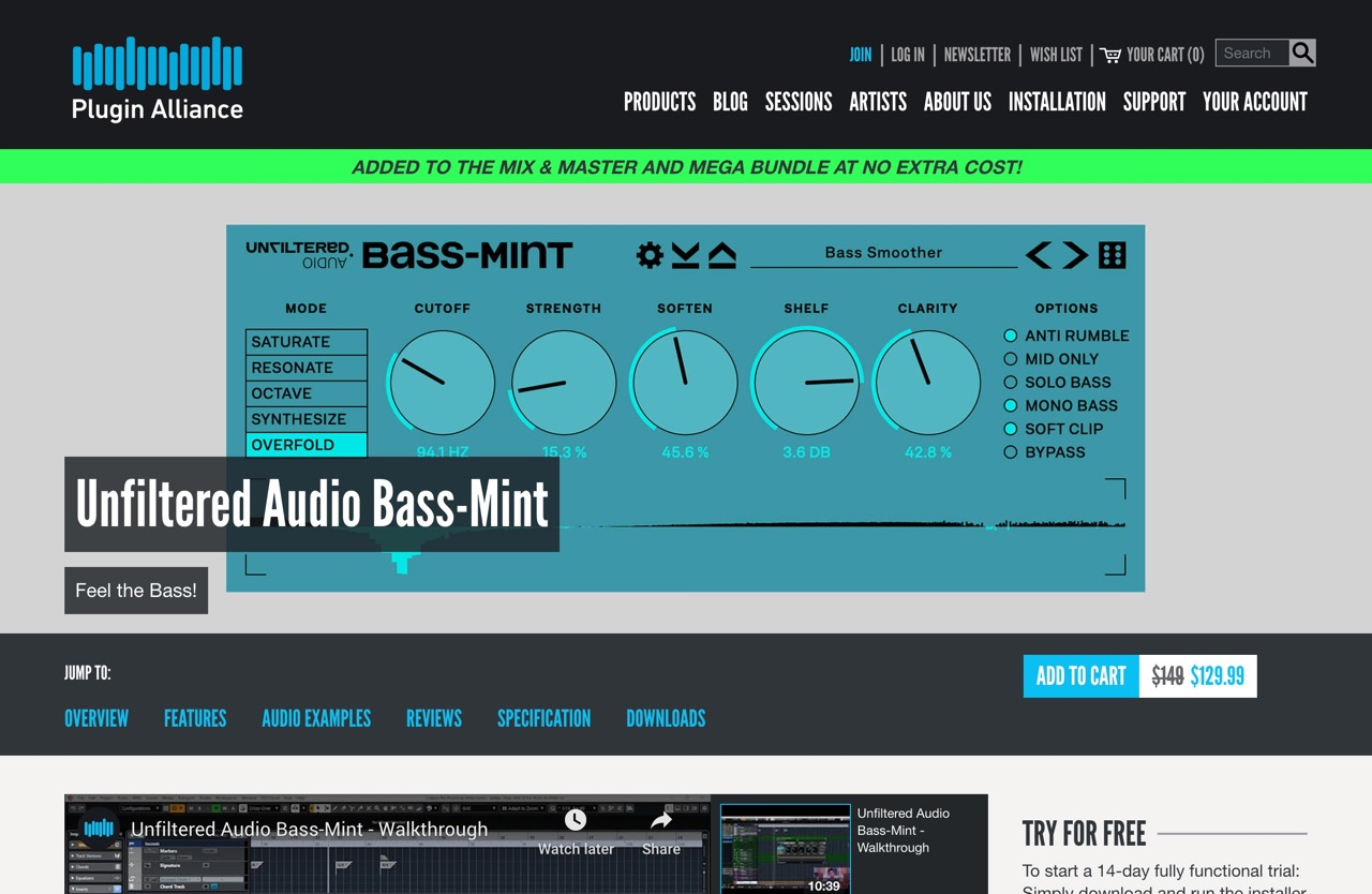 Unfiltered Audio Bass-Mint - Plugin Alliance
