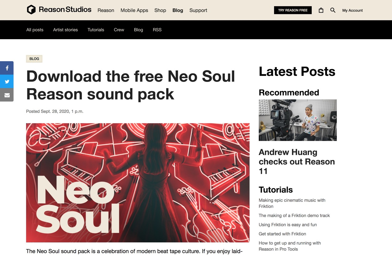 Download the free Neo Soul Reason sound pack | Reason Studios