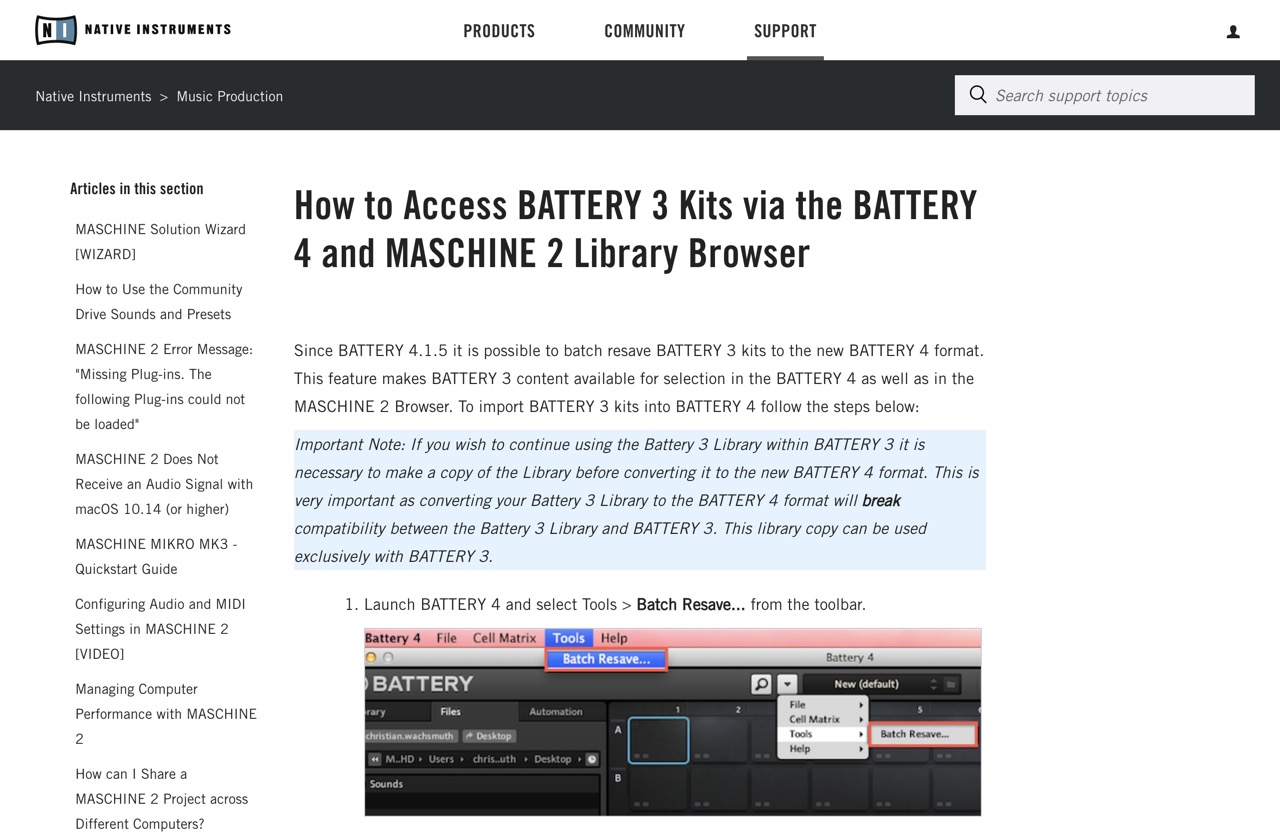 How to Access BATTERY 3 Kits via the BATTERY 4 and MASCHINE 2 Library Browser – Native Instruments