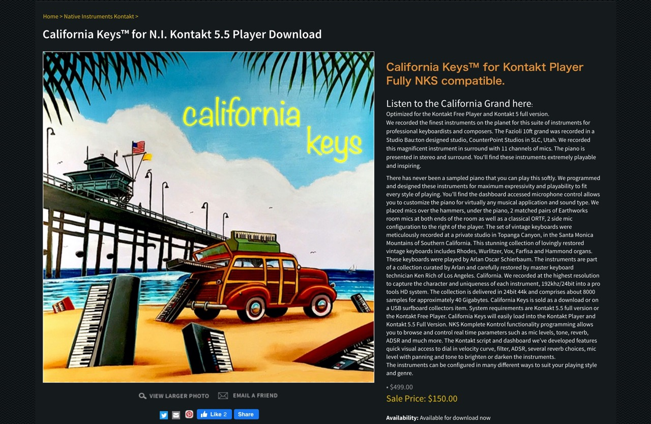 California Keys sample library, NKS Kontrol, Kontakt, Vintage samples, Fazioli