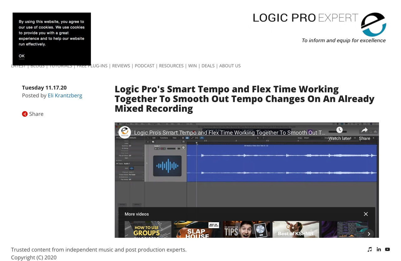 Logic Pro's Smart Tempo and Flex Time Working Together To Smooth Out Tempo Changes On An Already Mixed Recording | Logic Pro