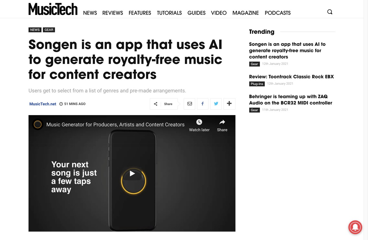 Songen is an app that uses AI to generate royalty-free music for content creators | MusicTech