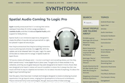 Spatial Audio Coming To Logic Pro – Synthtopia