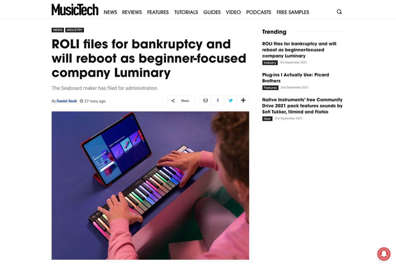 ROLI files for bankruptcy and will reboot as beginner-focused company Luminary   MusicTech