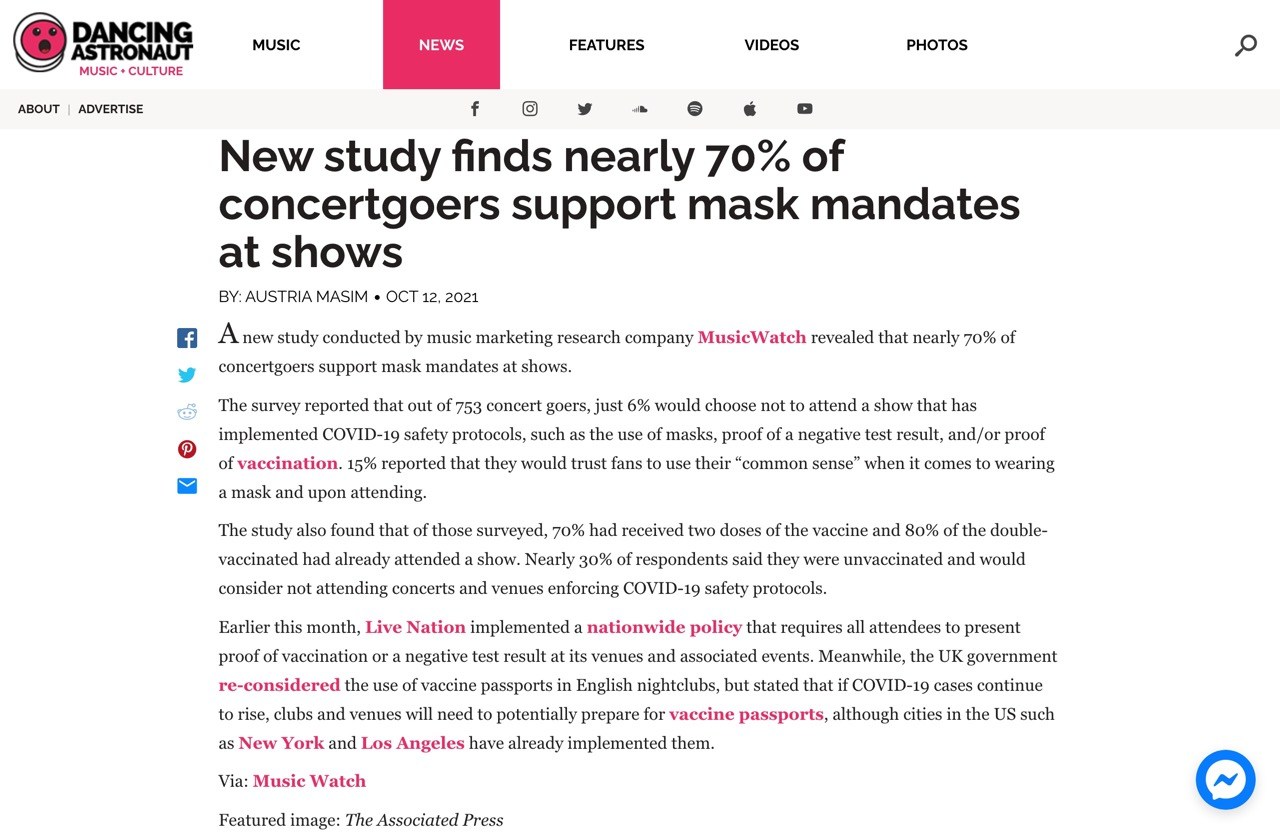 New study finds nearly 70% of concertgoers support mask mandates at shows - Dancing Astronaut : Dancing Astronaut